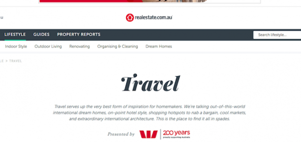 realestate.com.au adds Travel to Lifestyle content suite