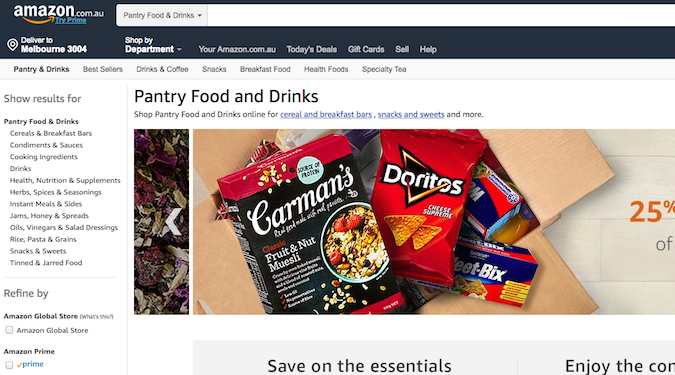 Amazon challenges Australian supermarkets with online groceries