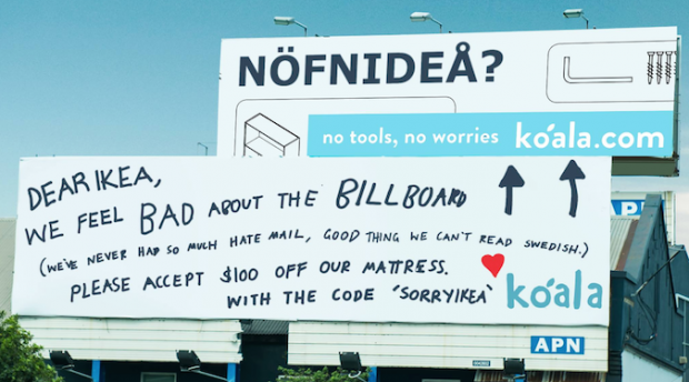 "Koala Mattresses doubles down on Ikea billboard, ""Sorry. Not sorry."""