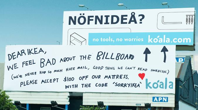 """Koala Mattresses doubles down on Ikea billboard, """"Sorry. Not sorry."""""""
