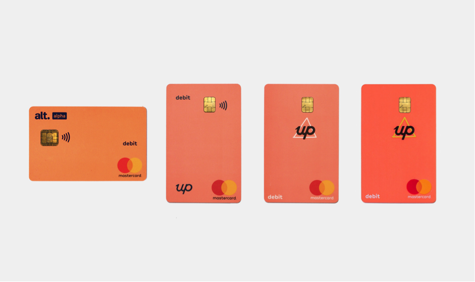 Up Bank cards flatlay